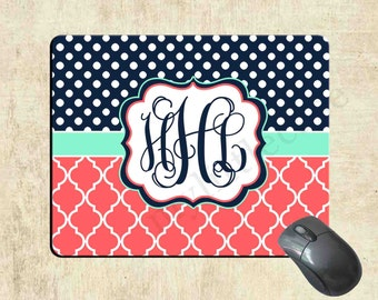 Monogrammed Mousepad - Navy Polka Dot Coral Lattice - Monogram Custom Mouse Pad - Personalized Mousepad