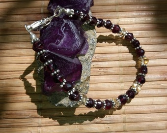Garnet Bracelet with Citrine
