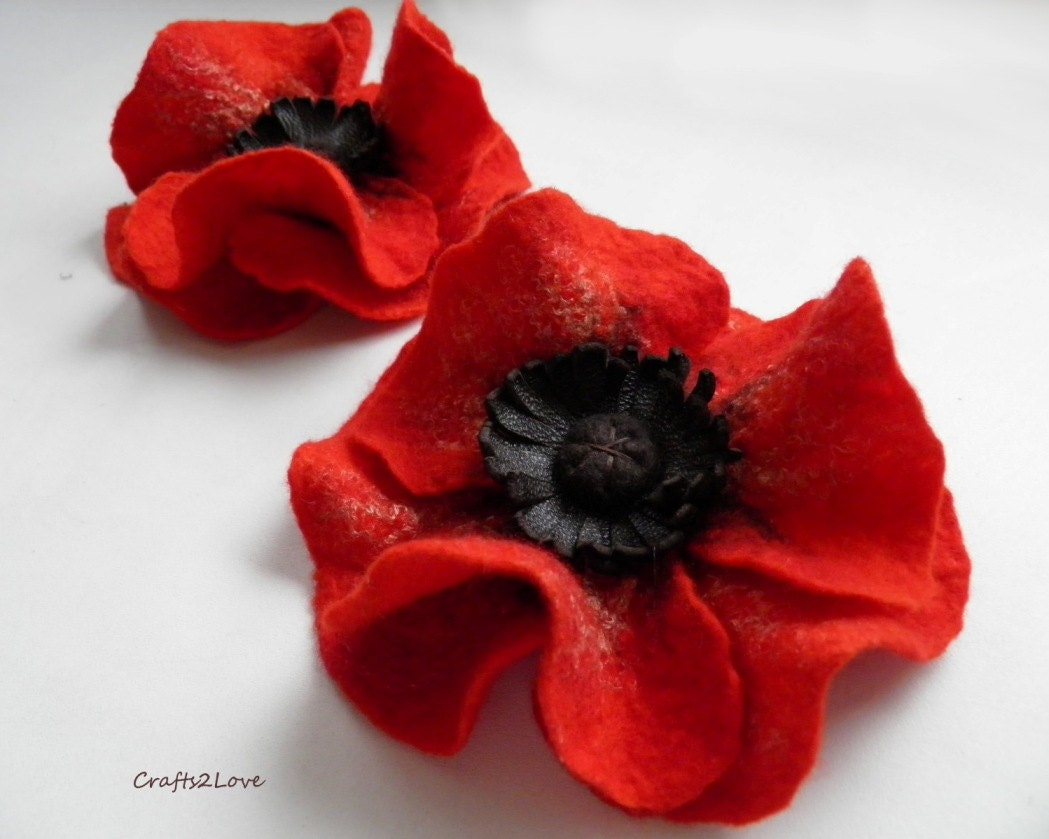 Just Red Poppy Brooch Felted Wool Flower Brooch Pin Felt Poppy
