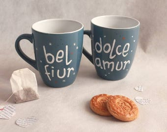 Pair of blue hand painted mugs customizable