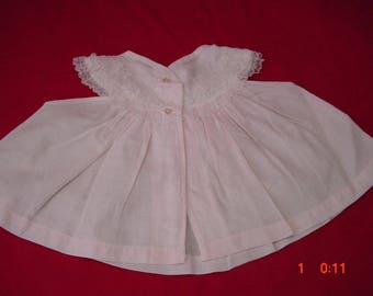 Vintage Pink Cotton Diaper Shirt with Ruffles, 1-3 mo, or large doll, Very Good Cond