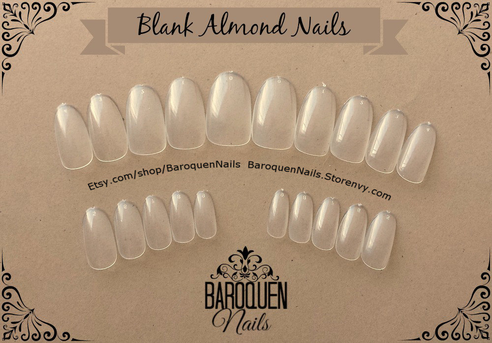 Blank Almond/Oval Press On Nails Set of 24 Round Full Coverage Nails ...