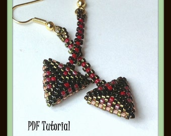 PDF Tutorial for Red and Green Triangle Drop Earrings...EBW Team