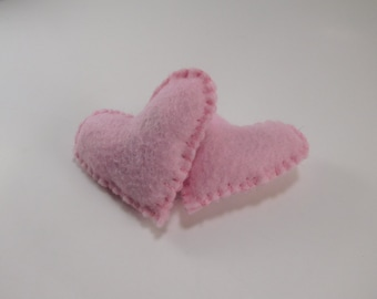 2 cute pink heart cat toys filled with organic catnip