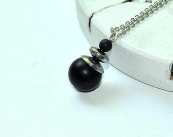 Black onyx necklace, Minimal pendant, Onyx necklace, Black stone necklace, Men beaded necklace, Boyfriend necklace, Husband necklace, Gift
