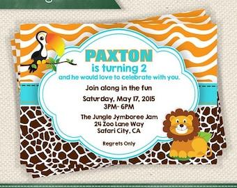 Safari Jungle Party - Orange Brown and Aqua Zebra Giraffe Print Invitation Printable - Personalized for Any Event Add a Photo If You Like