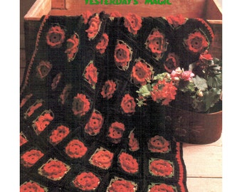 Instant Download PDF Granny Squares Crochet Pattern to make a Rose Bloom Flower Blossom Afghan Sofa Throw Blanket Bedspread Cushion