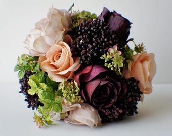 Ready To Ship, Bridal Bouquet, Wedding Bouquet, Pink red Bouquet, Wedding Floral, Wedding Flowers, Bridal Bouquet, Brides Bouquet Bridesmaid