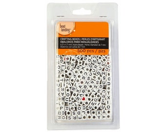 500 Alpha Beads, White letter beads, Cube letter beads, Bead Landing Alpha Beads, Alphabet beads, 7mm letter beads 016318117439 bulk pack