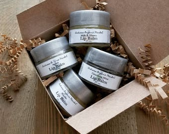 Organic Lip Balm Gift Set, Natural Lip Balm Set, Gift for Her, Lip Balm Variety Set, Natural Lip Balm Variety Pack, Organic Lip Balms Set