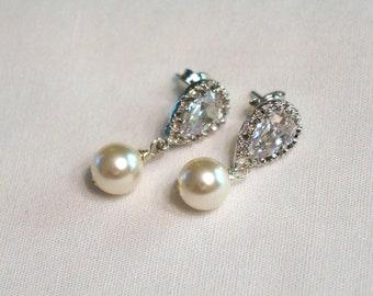 Crystal Bridal Earrings Pearl Bridal Earrings Pearl Bridesmaid Earrings Pink Bridesmaid Earrings Blue Mauve Jewelry Wedding Jewelry