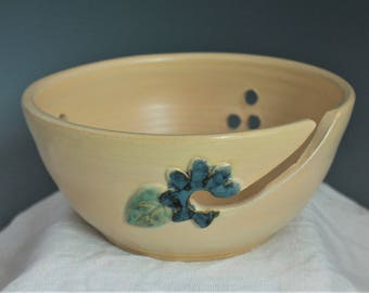Yellow knitting Bowl with blue flower - Knitting Organizer - handmade pottery - gift for nana - in stock and ready to ship