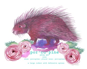 Pink Porcupine Print, Watercolor Print, Kid's Room, Original Art Print, Giclee Print, Fine Art, Watercolor Painting, FIne Art Print,