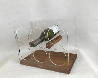 Vintage Mid-Century Modern Lucite Acrylic Wood 6 Bottle Wine Rack Scandinavia Style