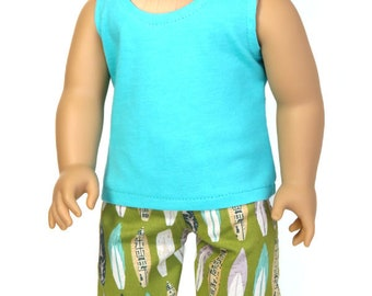 Fits Like American Girl Doll Clothes.  18-Inch Boy Doll Outfit.  Turquoise Tank Top and Green Surfboard Shorts.