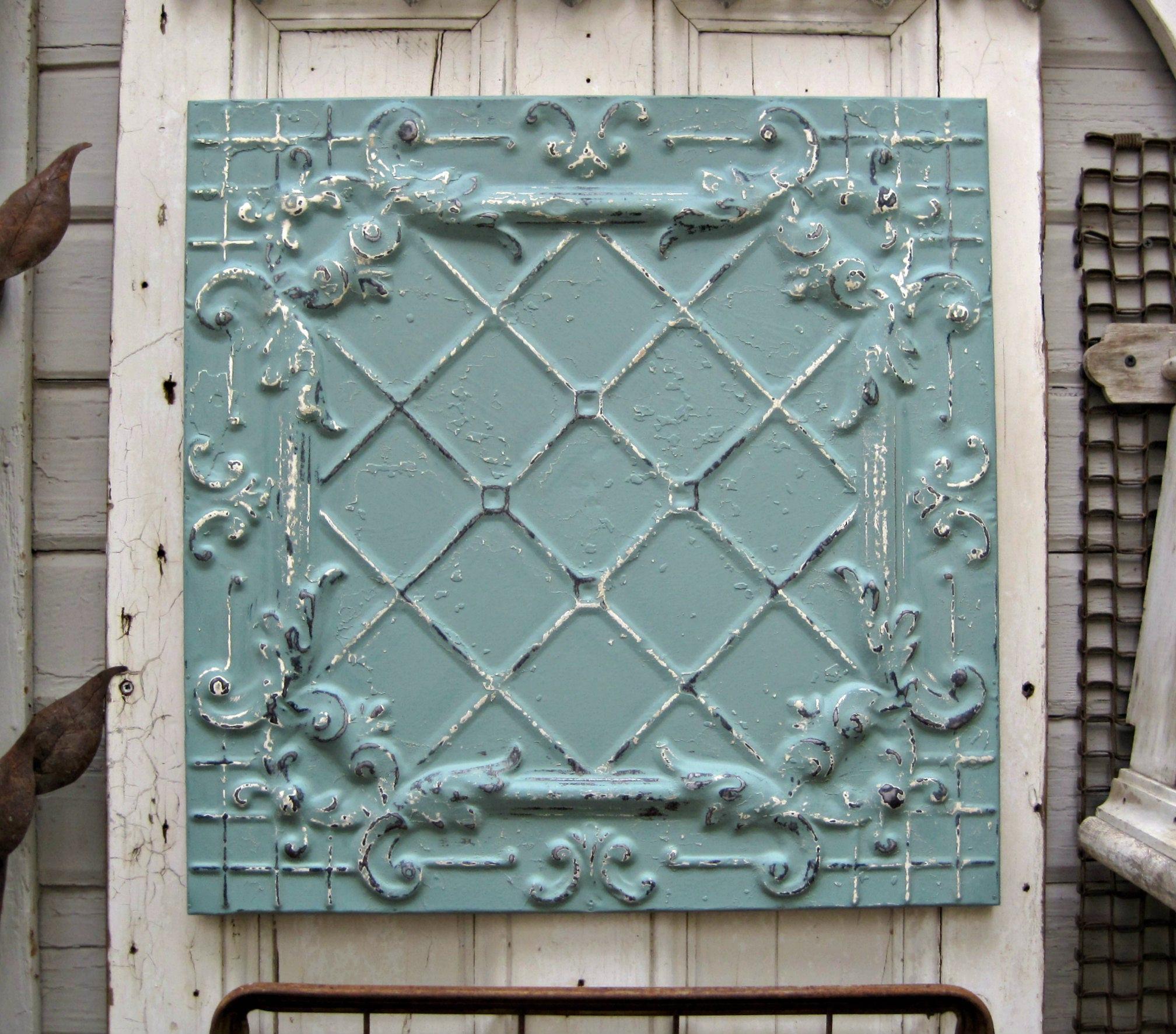 Antique ceiling tin tile framed 2x2 antique metal tile zoom dailygadgetfo Images