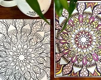 Blossoming Mandala Colouring Page