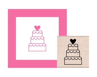 Wedding Cake with Heart Rubber Stamp