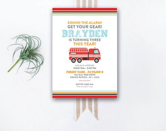 INSTANT DOWNLOAD birthday invitation / fire truck birthday / fire truck invitation / firefighter birthday / firefighter party / boy birthday