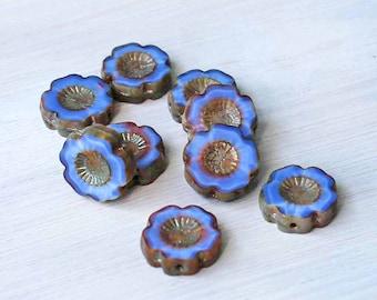 6 Czech Glass Beads 14mm Hawaiian Pansy Flower Blue and Gold Tones - CB023