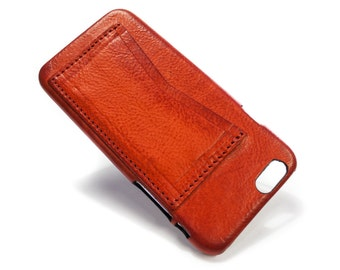 """iPhone 6 Leather Case Washed Leather Aged with credit card holder for 4.7"""" & PLUS 5.5"""" colour to CHOOSE"""