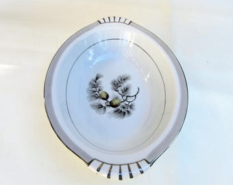 Vintage Oval Bowl | Silver Pine China | Serving Bowl | Vegetable Bowl | Gray Silver China | Fruit Bowl | 1950s Wedding China