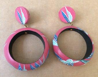 Pink Wood Dangle Earrings, Wood Hoops, large Wood Post Earrings, Hand Pained Hoops, Tropical Hoop Earrings, Painted Floral Earrings