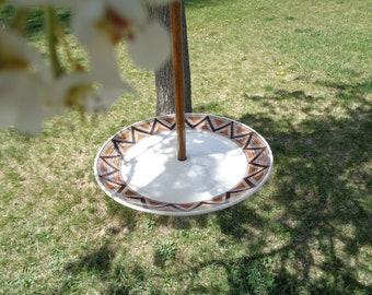 Brown and Orange Geometric Bordered Plate Bird, Squirrel or Fairy Feeder