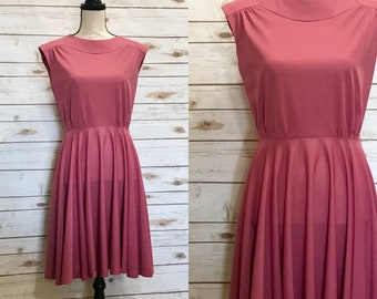 70's Polyester Party Dress, Vintage Blush Polyester Dress, Vintage Pink Blush Polyester Party Dress