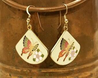 Vintage cloisonne,  cloisonne butterfly earrings