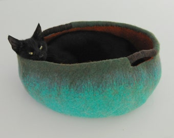 Cat cave-cat house-cat furniture-felt cat cave-vessel-cat home decor-felt cat bed-felt cat / Teal Orange Cris Contemporary Modern Designp