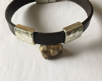 """Men's bracelet made of brown leather - measures 8"""" - closes with a magnetic clasp  accentuated with 2 antique silver sliders"""