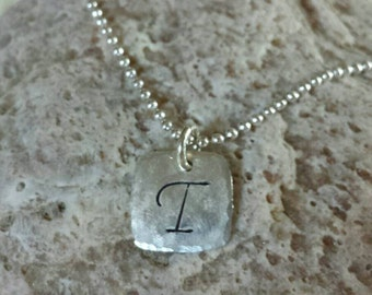 Silver Square Initial Necklace, Square Initial Necklace, Personalized Initial Necklace, Personalized Square Necklace, Mom Necklace