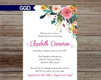 Bridal Shower Invitation with Flowers, boho chic Invitation, bridal shower invitation - Printed or Digital File