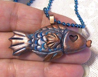 Fancy Copper Fish Jewelry Pendant with a Teal Patina Tarnish Original Sculpted One-Of-A-Kind Antique Copper Wearable Art
