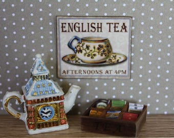 Dollhouse miniature Tea Time sign (25 different subjects here)