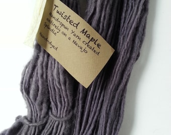Natural Dye, Navajo Spindle spun, hand-dyed Blue Faced Leicester single-ply yarn