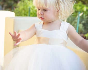 Toddler Baby Flower Girl Dresses, Tulle Tutu Princess Wedding White Dress, Ivory Flower Girls Dress, Wedding Dress Baby Tulle, Flower Girl
