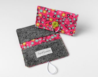 Checkbook Wallet, Checkbook Cover, Checkbook Holder, Fabric Checkbook, Carbon Copy, Passport Wallet, Extra Pocket, Purse Accessory Pink Gray