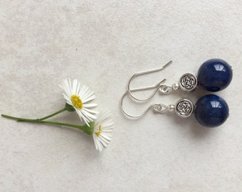 Lapis Lazuli & Tibetan Bead Earrings, Unique Gift