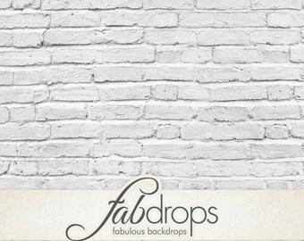 White Brick Wall Vinyl Photography Backdrop - Fab Vinyl Photo Background (FV0902)