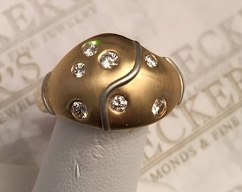 Contemporary Retro Mod 18k yellow & white gold 7 Round Diamond Dome Ring .43 tw JK-SI1-3, size 9, Heavy and Bold