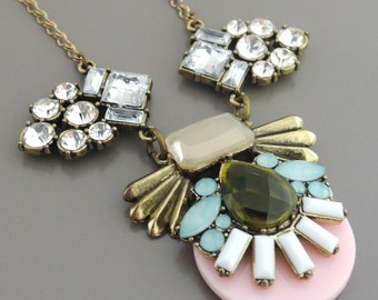 Statement Necklace - Bib Necklace - Rhinestone Necklace - Pink Aquamarine Necklace - Upcycle Necklace - handmade