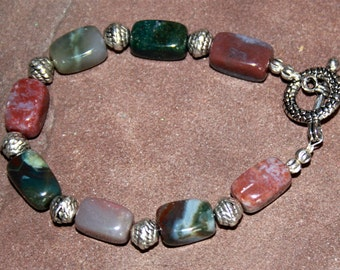 Natural Jasper Stone and Bali Silver Bracelet