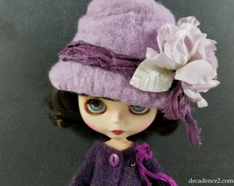 Light Lilac Pink Felted Wool Hat for Blythe Dolls- Light Pink,Berry Pink Silk Ribbon Handfelted, Wool Hat