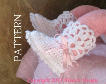 Crochet Pattern 029 - Booties Crochet Pattern - Crochet Booties Pattern for White Lace Top Booties -  Baby Booties Pattern Toddler Slippers