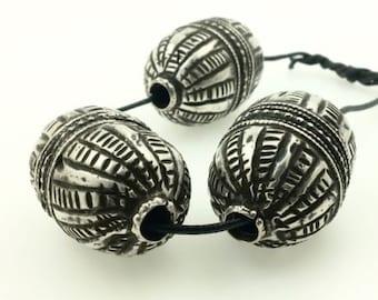 Antique Yemeni Al-Dhahiyy Silver Beads- 3 Matched Ornaments, Rare Style, Oval Shape, Yemen