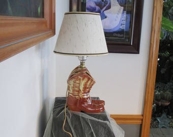 Boot lamp etsy mccoy usa pottery cowboy boot table lamp with shade works electric aloadofball Gallery