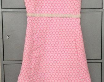 Twiggy Pink White Honeycomb Esther Wolf Houston Mini Dress Sixties 60s Vintage xxs/xs (EUR 32/34, US 1/2, UK 4/6)