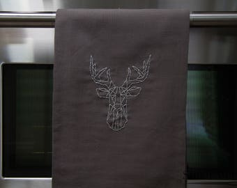 Deer Kitchen Towel - Hand Embroidered - Decorative Towel